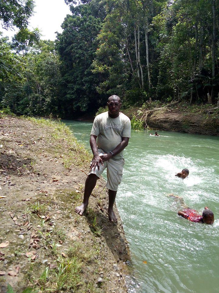 Kids enjoying river bathing